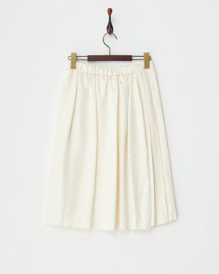 オフホワイト プリーツ巻きスカート見る