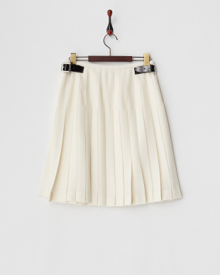 ホワイト  キルト プリーツラップスカート見る