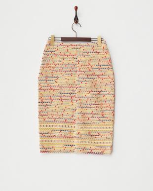 ベージュ アイレットツイードスカート見る