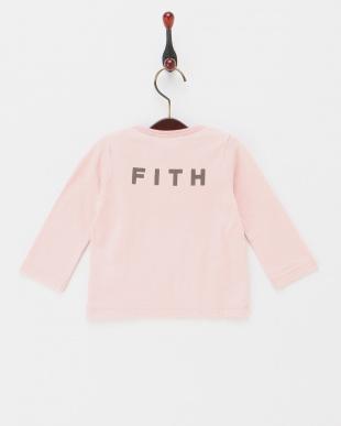 ピンク  ロゴプリントロングスリーブTシャツ見る