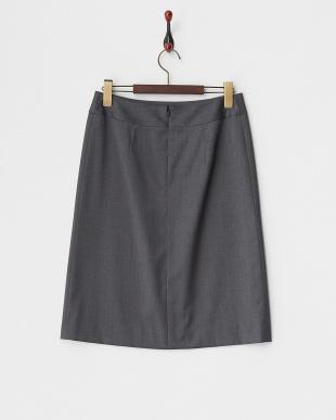 グレー  ウール/ビスコース混 ベーシック スカート見る