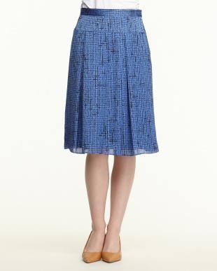 ブルー×ブラック チェック スカート見る