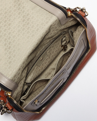 Burnt Orange Maxi Zip Satchel Perforated Bag見る