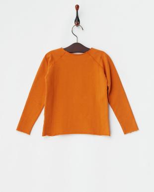 オレンジ  裏起毛長袖プリントトップス|KIDS見る