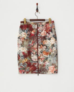 ボルドー フラワープリントスカート見る