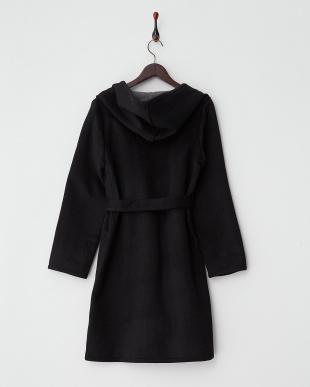 ブラック  シャギー配色ベルト付きコート見る