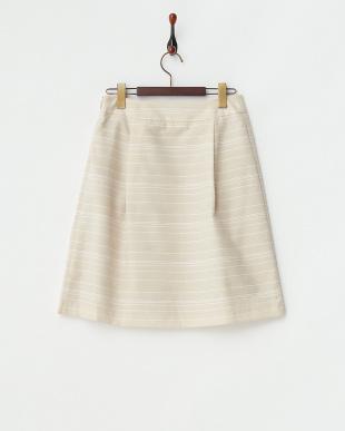 ベージュ  コードボーダースカート見る