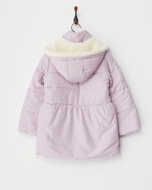 ライトピンク  ボアフーデッド中綿コート見る