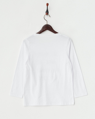 チャコール  パール付き7分袖プリントTシャツ見る
