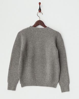 グレー  ラムズウールクルーネックセーター見る
