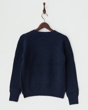 ブルー  ラムズウールクルーネックセーター見る