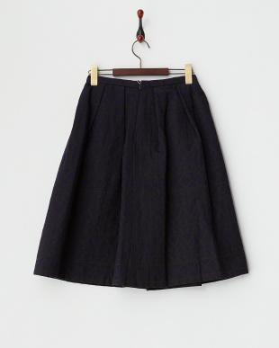 ブラック ネイティブ柄 ダブルフェイス ミディアムスカート見る
