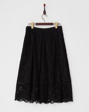 ブラック 花柄レースタック入りスカート見る