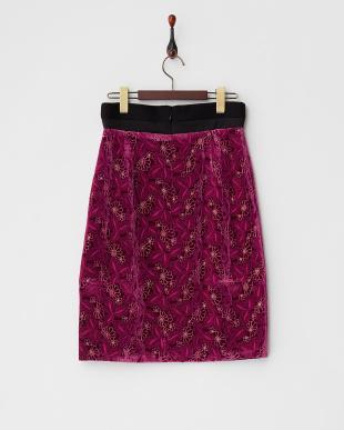ダークピンク シルク混ベルベット花柄タイトスカート見る