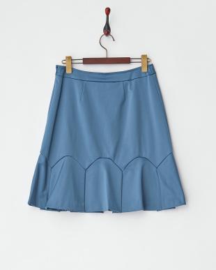 ブルー  裾タックフレア切り替えスカート見る