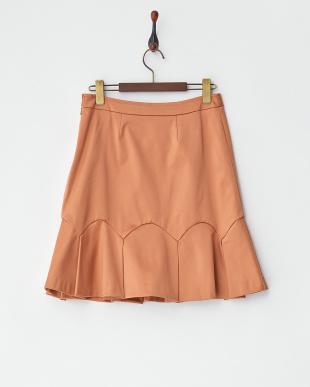 サーモンピンク  裾タックフレア切り替えスカート見る