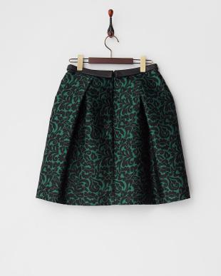 グリーン 総柄タック入りスカート見る