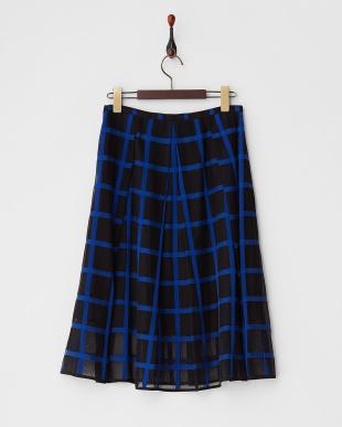 ブルー 格子柄タック入りスカート見る