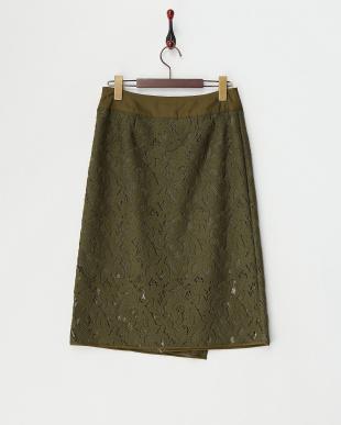 カーキ ボタニカルモチーフスカート見る