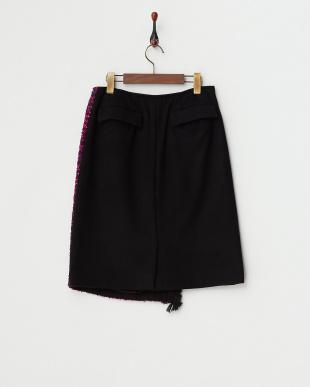 ピンク フロント斜め切り替えスカート見る