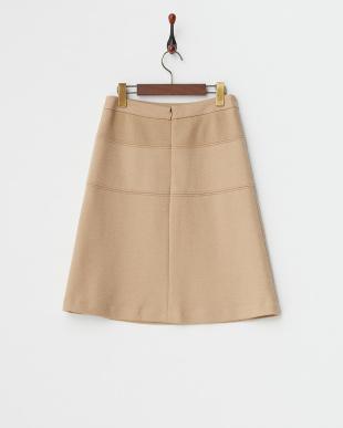 キャメル  ウール混 切り替えスカート見る