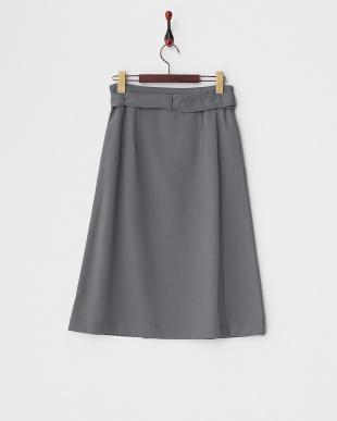 グレー  ベルト付き ラップスカート見る