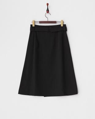 ブラック  ベルト付き ラップスカート見る
