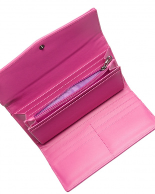 ピンク  フラップ付きロングウォレット見る