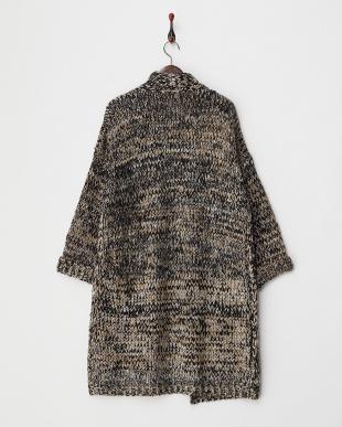 ブラックベージュ  ショールカラー 羽織りニットコート見る