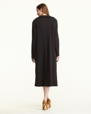ブラック/オレンジ  バイカラー 羽織りニットコート見る