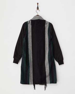 グリーン  ショール風 袖切り替えジャケット見る