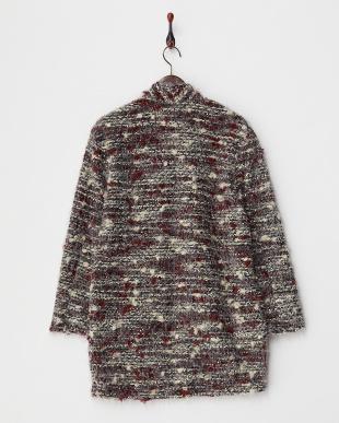 グレー  ラメ混モール調 羽織りコート見る