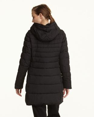 ブラック  フード付き 中綿入りコート見る