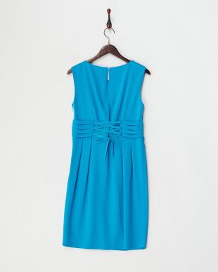 ブルー ビジューネックレス付きウエストリボンミニドレス見る