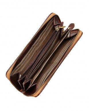 チョコ ヘアレザーコンビ表裏異柄ロングウォレット見る