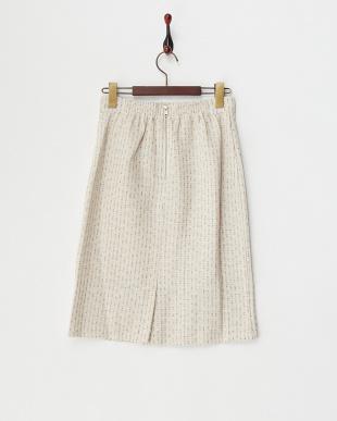 ホワイト 2ndline/パステルツィード裾ビジュータイトスカート見る