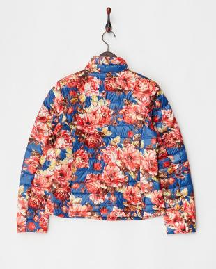 ブルー×レッド 花柄 ライトダウンジャケット見る