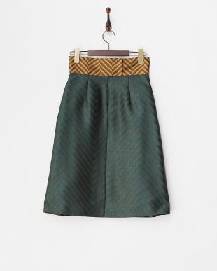 dark green pattern PAPRICA タック入り切り替えスカート見る