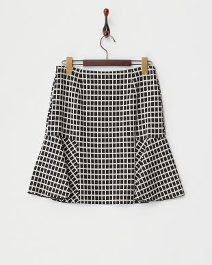 dark grey pattern BIORITMO グラフチェック切り替えフレアスカート見る