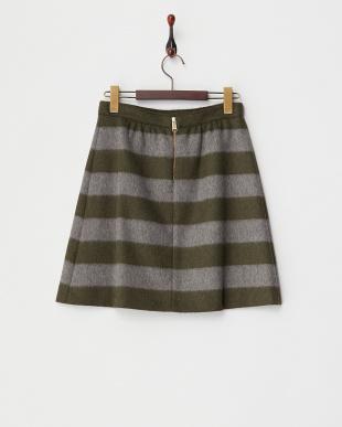 olive green pattern  DEDALO 起毛ボーダースカート見る