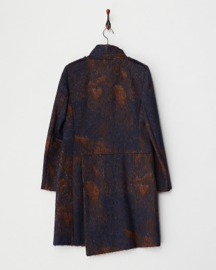 midnight blue pattern CELLULA シャギースタンドカラーコート見る