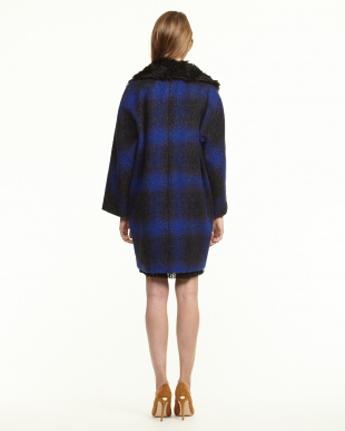 navy blue pattern PESCO ボア衿シャギーチェックコート見る
