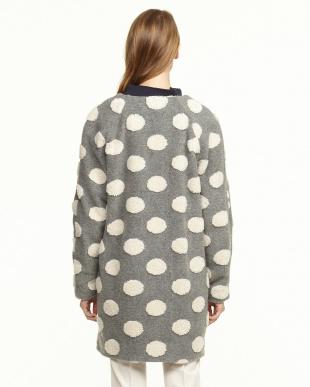 medium grey pattern DOMANI ボアドットノーカラーコート見る