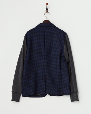 ブラックブルー系  袖ニット切り替えジャケット見る