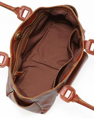 ブラウン  ポーチ2個付きクラフト調ハンドバッグ見る