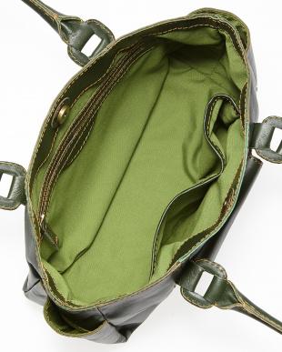 グリーン  ポーチ2個付きクラフト調ハンドバッグ見る