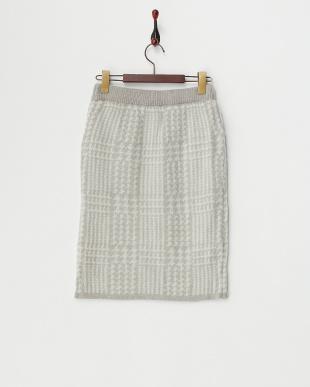 グレー  グレンチェックジャガードニットタイトスカート見る