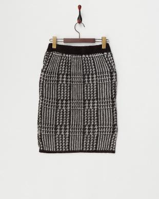 ブラック  グレンチェックジャガードニットタイトスカート見る