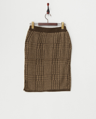 ブラウン  グレンチェックジャガードニットタイトスカート見る