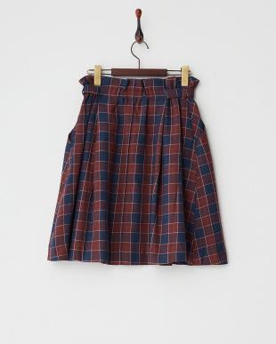 レッド  タータンチェックTRタックフレアスカート見る